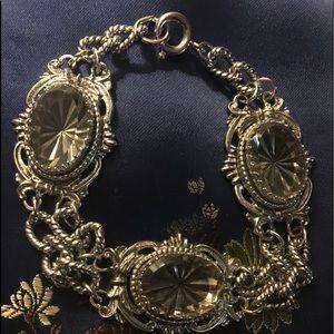 Jewelry - Silver tone smokey crystal bracelet